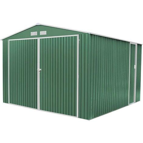 "main image of ""Garaje Metálico Gardiun Norfolk 16 m² Exterior 420x380x232 cm Verde - KIS12963"""