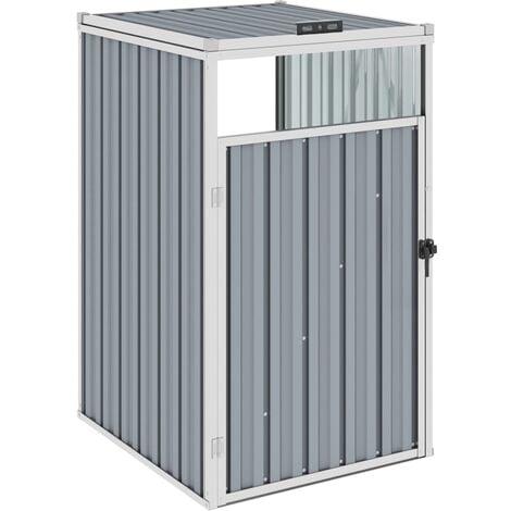 Garbage Bin Shed Grey 72x81x121 cm Steel - Grey