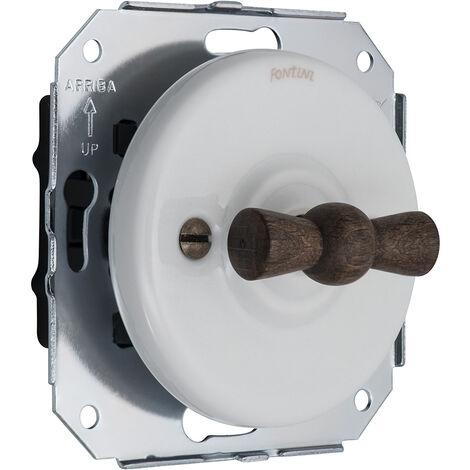 GARBY COLONIAL - Interrupteur Va & Vient Porcelaine Blanche et Manette Bois Hêtre Réf. 31308213 - FONTINI