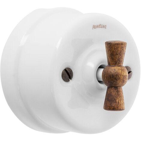 GARBY - Interrupteur Va & Vient Porcelaine Blanche Manette Bois Hêtre 10A-250V - Réf. 30308213 - FONTINI