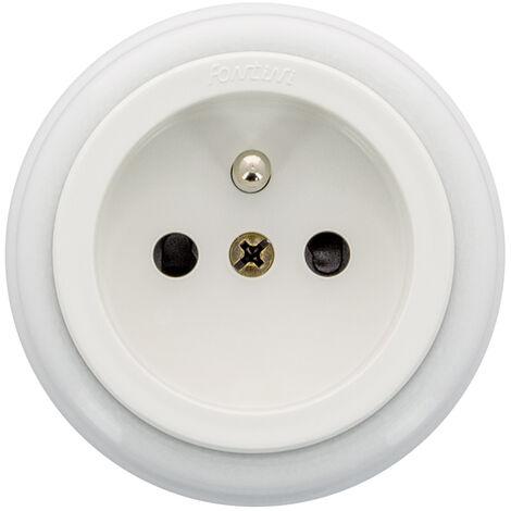 GARBY - Prise avec terre Porcelaine Blanche 16A-250V Réf. 30208173 - FONTINI