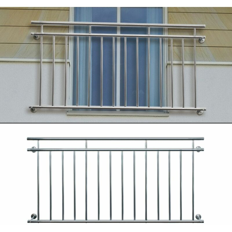 Garde-corps Acier inoxydable 90x156cm Balustrade de balcon à la francaise