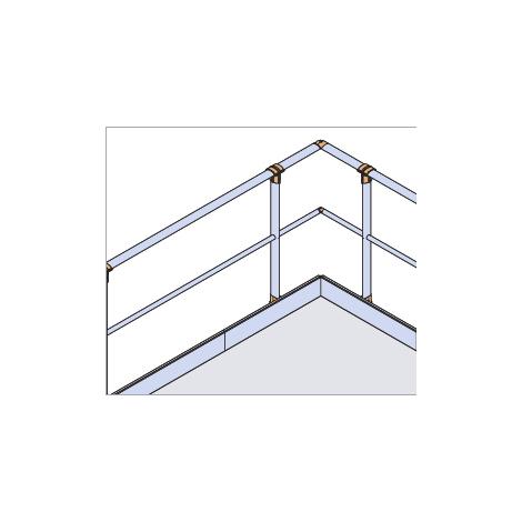 Garde-corps - Fixé à plat - Droit + Main courante - sous lisse et plinthe (plusieurs tailles disponibles)