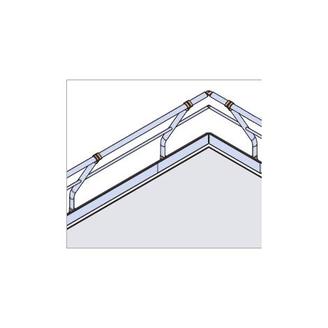 Garde-corps - Fixé à plat - Incliné + Main courante - sous lisse et plinthe (plusieurs tailles disponibles)