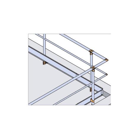 Garde-corps - Fixé en applique - Droit + Main courante - sous-lisse et plinthe (plusieurs tailles disponibles)