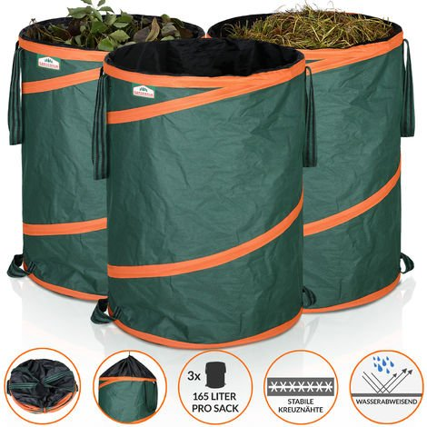 GARDEBRUK 3x Pop Up Garden Waste Bag Set Size Choice (165 L)