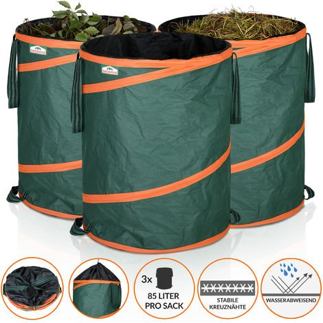 GARDEBRUK 3x Pop Up Garden Waste Bag Set Size Choice (85 L)