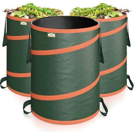 GARDEBRUK - 3x Sac de déchets de jardin 165L max. 30kg par sac tissu renforcé hydrofuge ordures bac