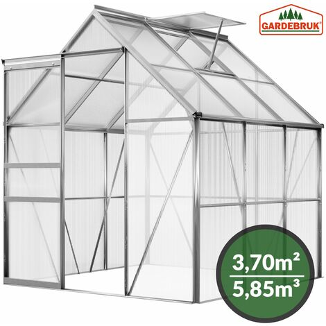 Gardebruk Aluminium Gewächshaus 5,85m³ 190x195cm Treibhaus Gartenhaus Frühbeet Pflanzenhaus Aufzucht
