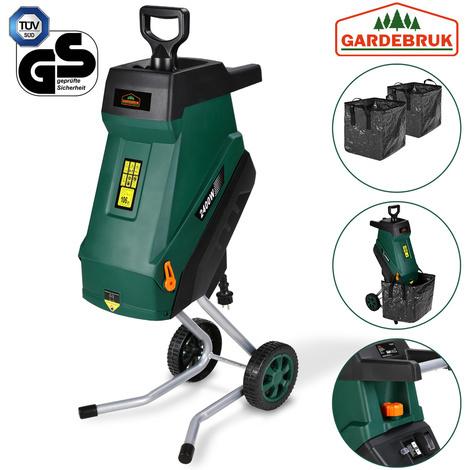 GARDEBRUK - Broyeur de jardin végétaux 2400 W déchiqueteur jardin électrique bac ramassage 1x50L branches arbuste 45mm