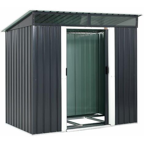 Gardebruk Cobertizo de jardín 3,4 m³ Antracita 196x122x180cm Caseta de Herramientas con Puerta corrediza ventanas y zócalo