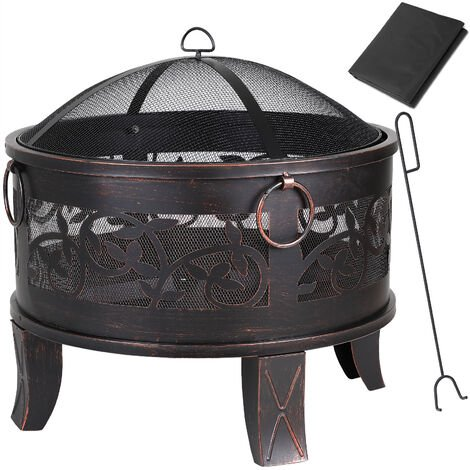 GARDEBRUK Fire Pit Garden Patio Firepit Brazier Outdoor Steel Firebowl Heater Burner Chimenea Camping Spark Guard Poker