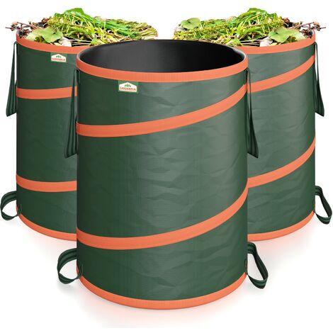 Gardebruk Gartensack Pop up 3x 165 Liter = 495 Liter | verstärkende Spiralfeder | doppelte Kreuznähte | Gartenabfallsack Laubsack