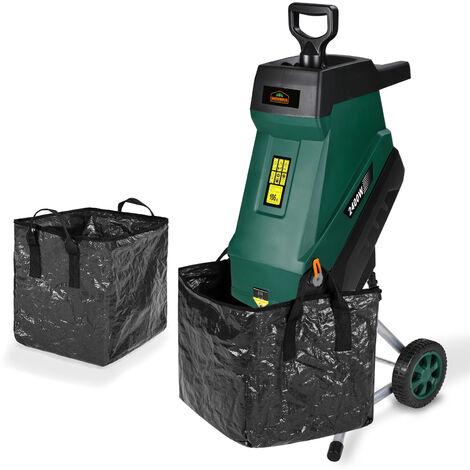 Gardebruk Messerhäcksler 2400W elektrisch max. 45mm Aststärke 2x 50L Beutel Gartenhäcksler Häcksler Schredder