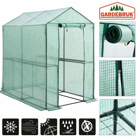 Gardebruk Invernadero 2,23m² con lona 190x186x120cm vivero de jardín con puerta huerto exterior plantas verduras sembrado