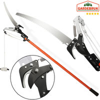 Gardebruk Tree Pruner Telescopic Saw & Lopper 2in1 Pruning Shears Cable Pull Max. Working Height 4 m Extendable Gardening Tool