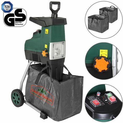 """Gardebruk Trituradora silenciosa de 2800W con bolsa sistema de """"empuje autómatico"""" protección peso 17 kg madera ramas jardín"""