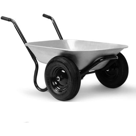 Gardebruk Wheelbarrow 2-Wheeled 100L Garden Wheel Barrow Heavy Duty Pneumatic Tyre Galvanized Metal 200Kg Wheelbarrows