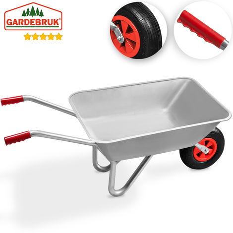 Gardebruk Wheelbarrow 80L Garden Wheel Barrow Heavy Duty Pneumatic Tyre Galvanized Metal 100Kg Wheelbarrows