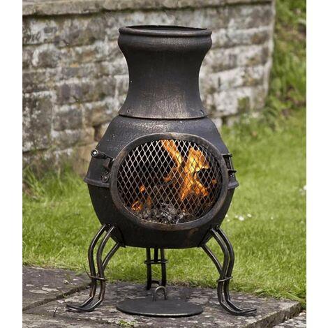 Gardeco Billie Cast Iron Chimenea Fire Pit Bowl Garden Heater Bronze Small Metal