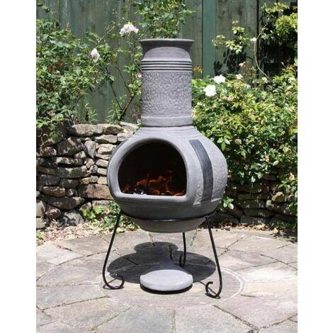 Gardeco Linea Grey Mexican Clay Chimenea Fire Pit Garden Heater Extra Large XL