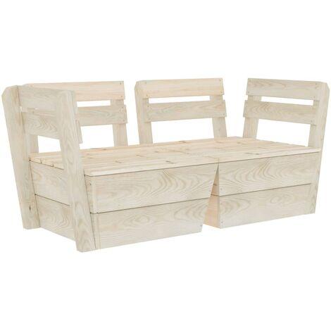 Garden 2-Seater Pallet Sofa Impregnated Spruce Wood