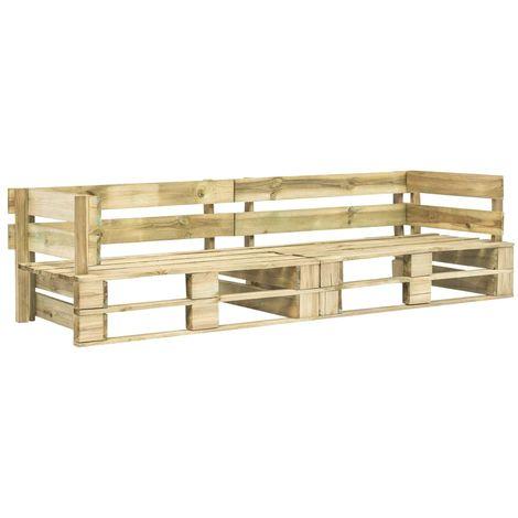 Garden 2-Seater Sofa Pallets Green FSC Wood