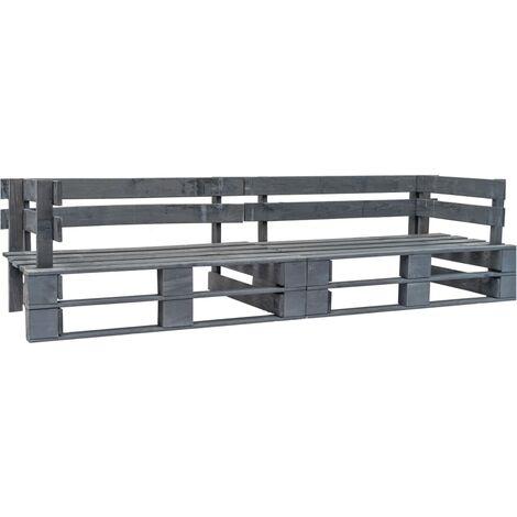 Garden 2-Seater Sofa Pallets Grey Wood