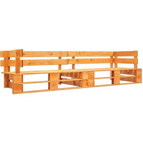 Garden 2-Seater Sofa Pallets Honey Brown Wood