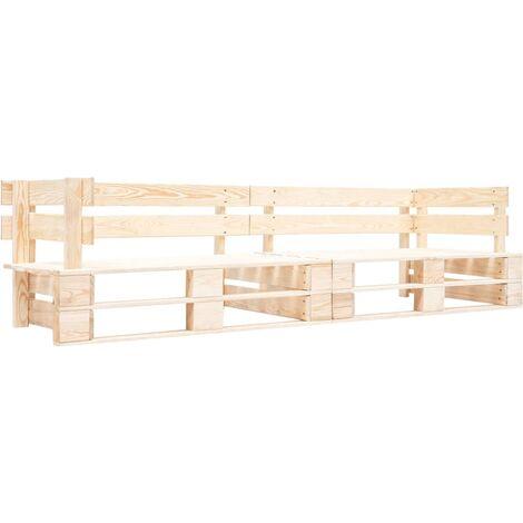 Garden 2-Seater Sofa Pallets Natural Wood