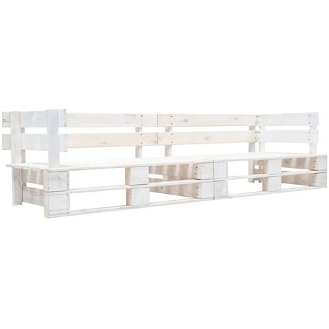 Garden 2-Seater Sofa Pallets White Wood