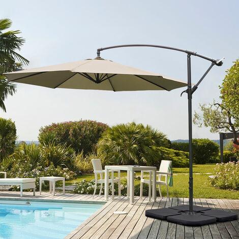 Garden 3M Beige Banana Parasol Cantilever Hanging Sun Shade Umbrella Shelter
