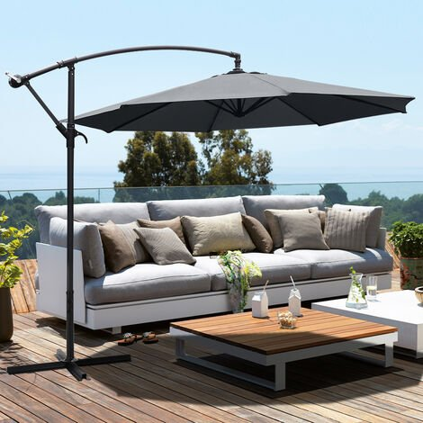 Garden 3M Dark Grey Banana Parasol Cantilever Hanging Sun Shade Umbrella Shelter