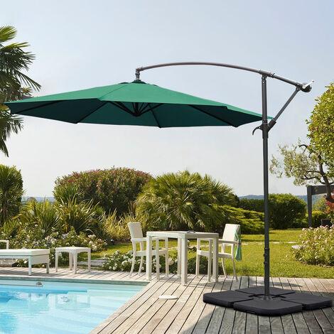 Garden 3M Green Banana Parasol Cantilever Hanging Sun Shade Umbrella Shelter