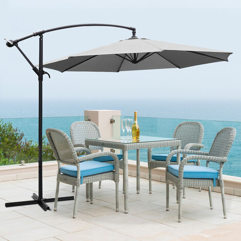 Garden 3M Light Grey Banana Parasol Cantilever Hanging Sun Shade Umbrella Shelter