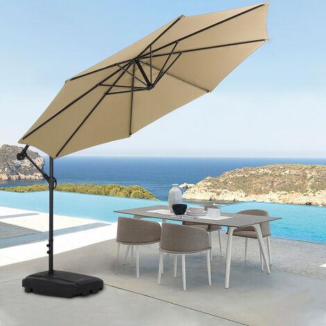 Garden 3M Taupe Banana Parasol Cantilever Hanging Sun Shade Umbrella Shelter
