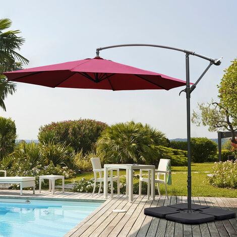 Garden 3M Wine Banana Parasol Cantilever Hanging Sun Shade Umbrella Shelter