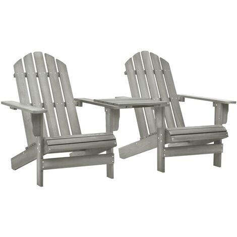 Garden Adirondack Chair Solid Fir Wood Grey