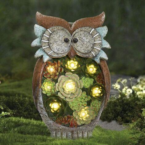 Garden Animal Statue Decoration, Solar Powered Resin Owl Solar Light, Animal Figurine Light Lamp, Owl Ornaments Outdoor, for Yard Lawn Entrance Christmas Gift H27 x D16 cm