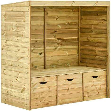 Garden Arbour Bench with 3 Drawers 170 cm Solid Pinewood