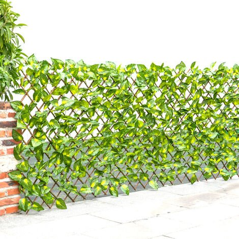 """main image of """"Garden Artificial Hedge Leaf Expanding Privacy Screening Fence, Green Perilla 120x180CM"""""""