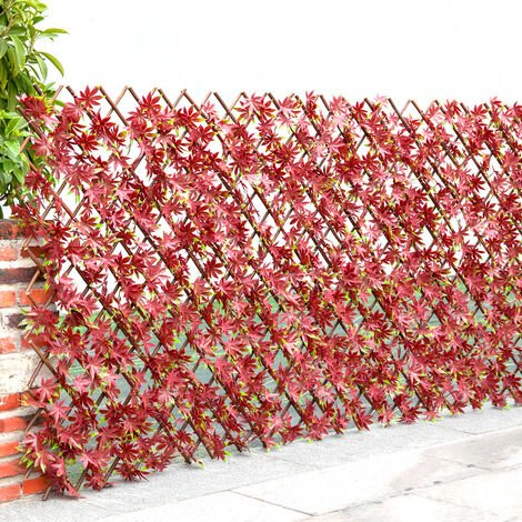 """main image of """"Garden Artificial Hedge Leaf Expanding Privacy Screening Fence, Red Leaf 120x180CM"""""""