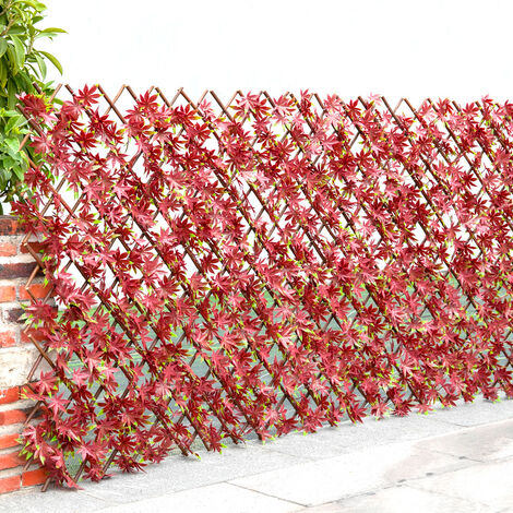 """main image of """"Garden Artificial Hedge Leaf Expanding Privacy Screening Fence, Red Leaf 100x200CM"""""""