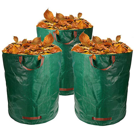 """main image of """"Garden Bags, 3 * 272L Garden Garbage Bags, Garbage Bags for Garden Waste Green Lawn Foliage Cutter -Reusable"""""""