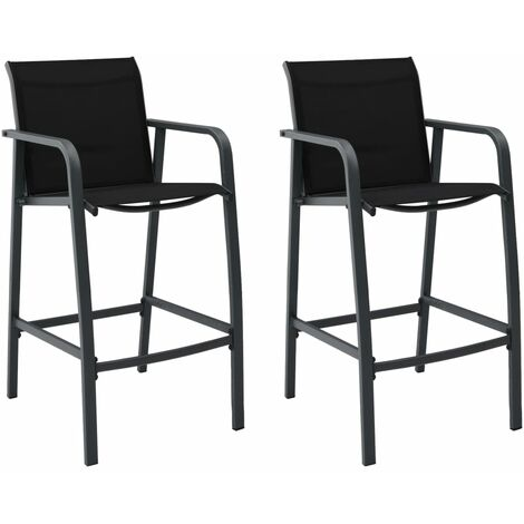 Garden Bar Chairs 2 pcs Black Textilene