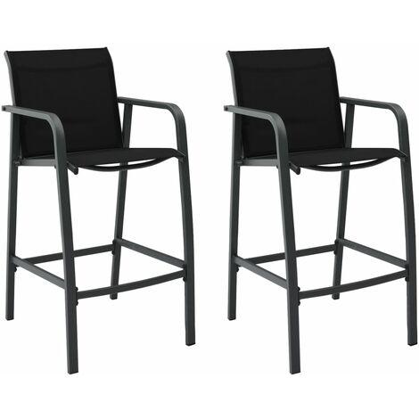 Garden Bar Chairs 2 pcs Black Textilene - Black
