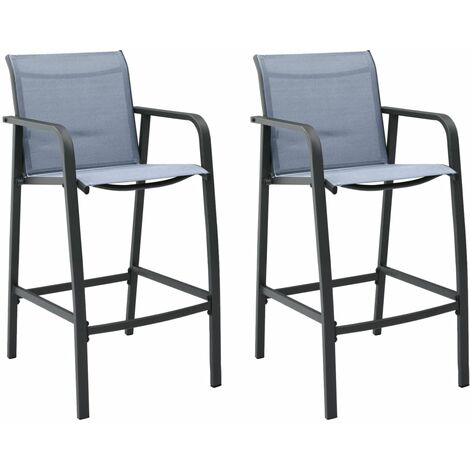 Garden Bar Chairs 2 pcs Grey Textilene