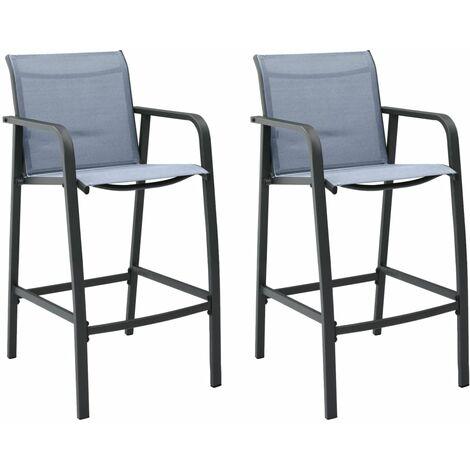 Garden Bar Chairs 2 pcs Grey Textilene - Grey