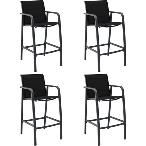 Garden Bar Chairs 4 pcs Black Textilene