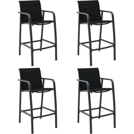 Garden Bar Chairs 4 pcs Black Textilene - Black